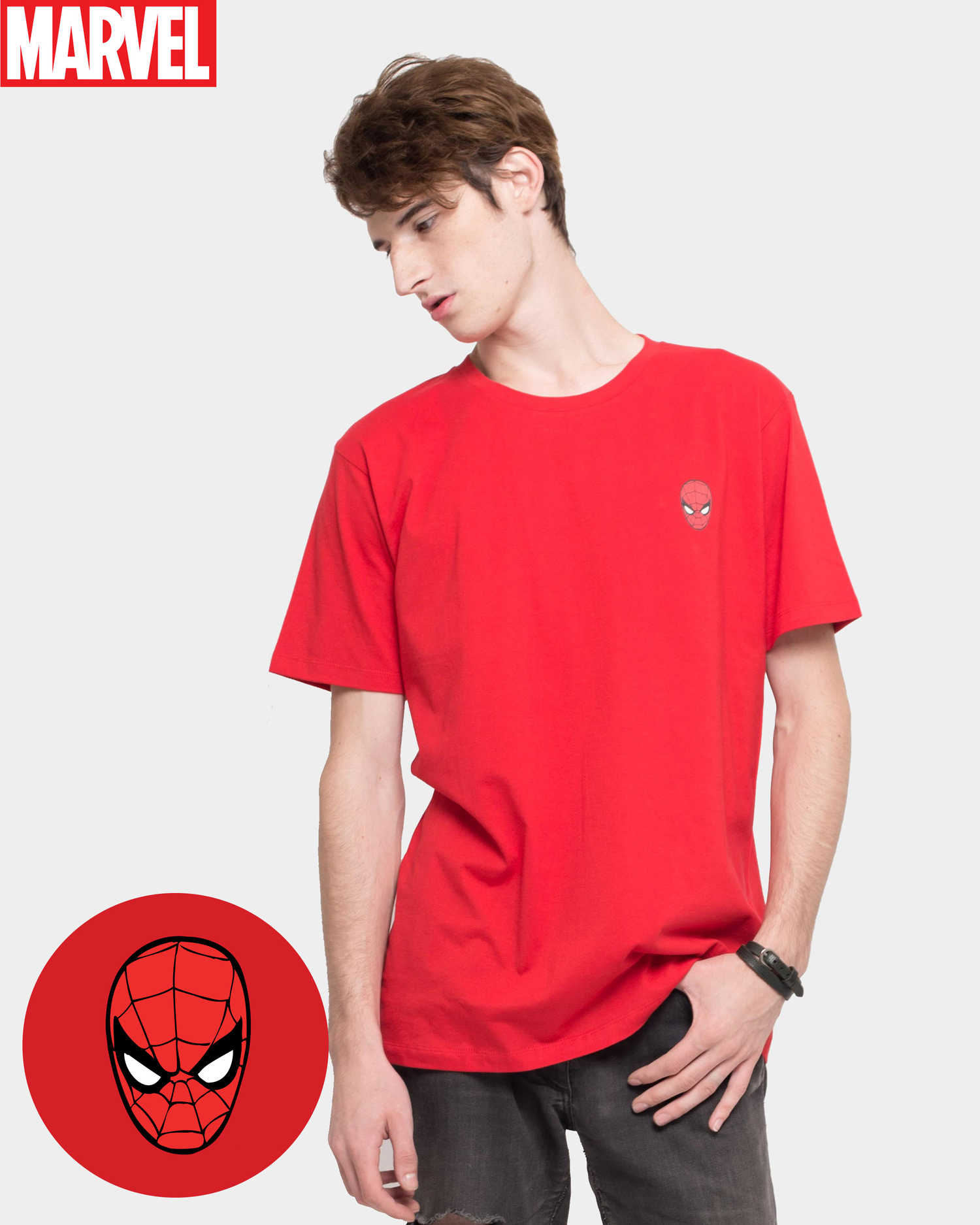 Product Men Tees Marvel Spiderman Icon Tee Red Monstore Ironman