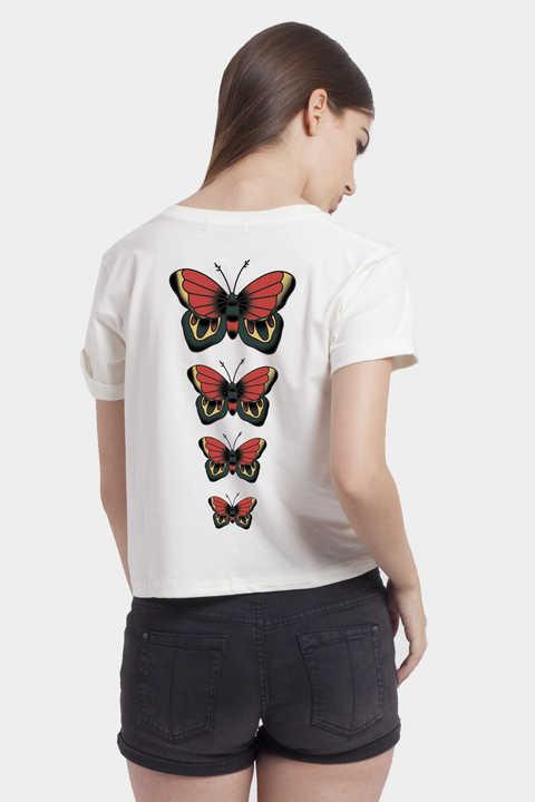 Product Women Tops Butterflies Tattoo Crop Top Off White